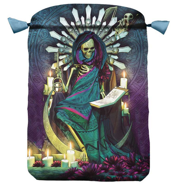 Santa muerte drawstring bag