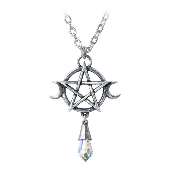 triple moon goddess necklace in English pewter