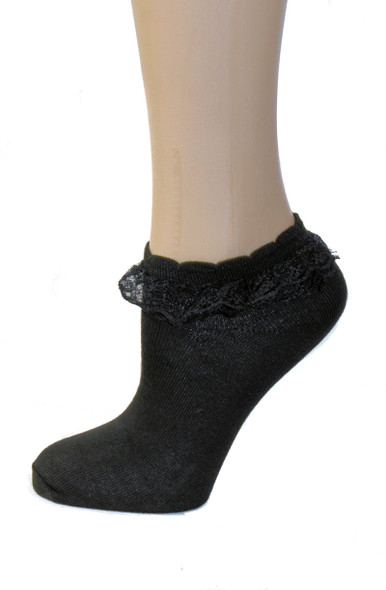 low cut black lace ankle socks