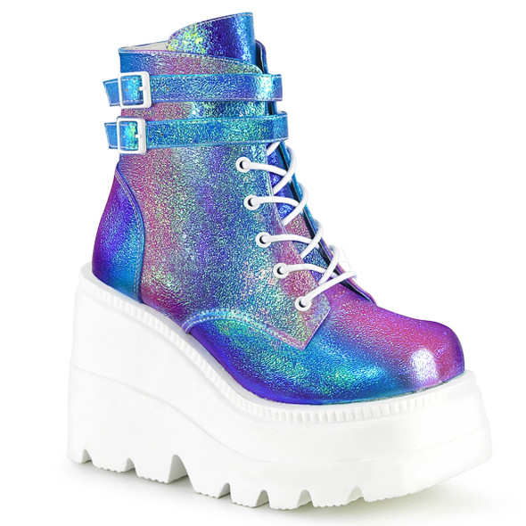 purple holographic boots with chunky heel