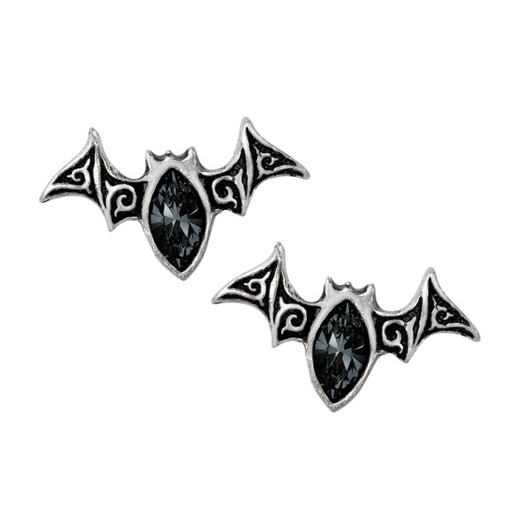 black crystal bat earrings
