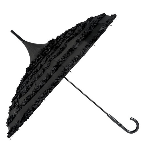 black ruffle lolita umbrella