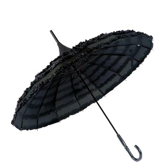 black ruffle pagoda umbrella