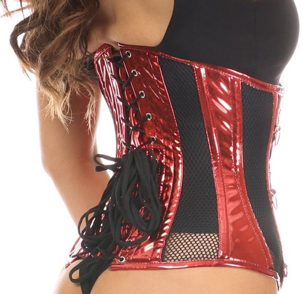 Metallic Red and Fishnet  Steel boned Corset