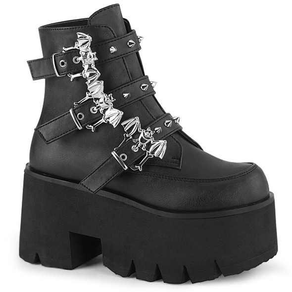 colony black vegan leather combat boots with bat buckles