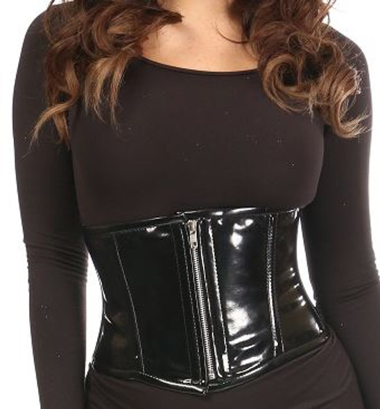 Black PVC Steel boned Waist Cincher