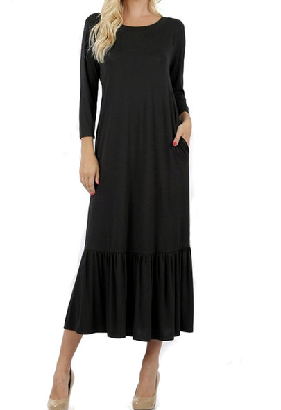 long black dress with ruffle hem