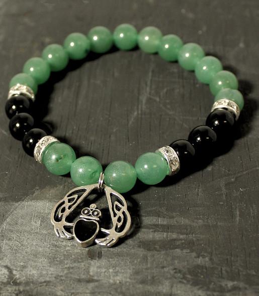 black onyx and green aventurine beaded stretch bracelet with claddagh charm
