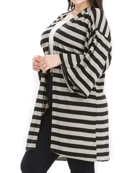 Black and Gray Kimono Striped Cardigan