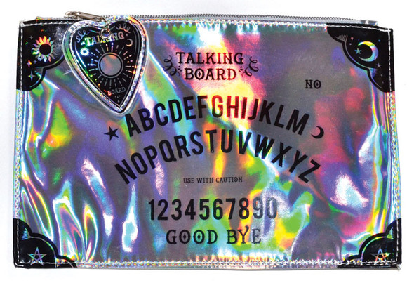 silver makeup bag with ouija board print