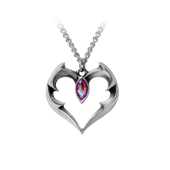 batwing heart necklace with swavorski  crystal