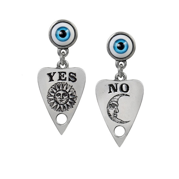pewter earrings of a ouija planchette