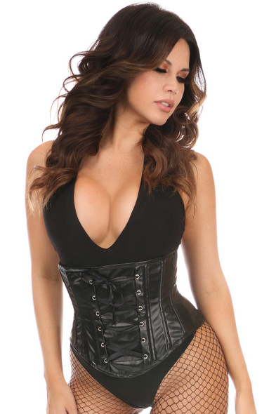full length shot of faux leather underbust corset