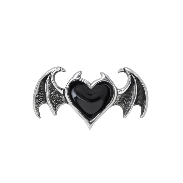 black heart with wings on pewter ring