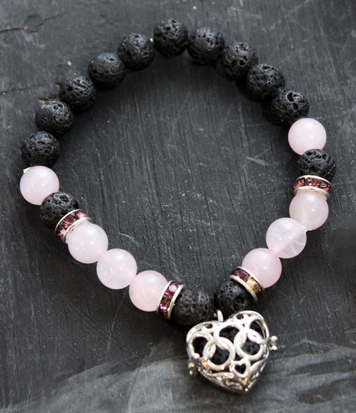 Rose Quartz and Lava Aromatherapy bracelet