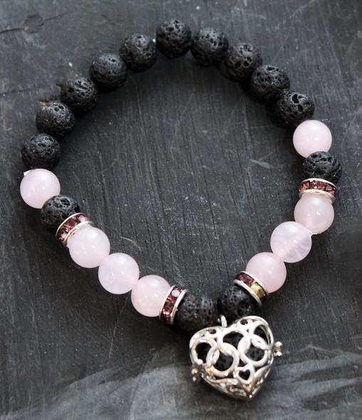Rose Quartz and Lava Aromatherapy bracelet