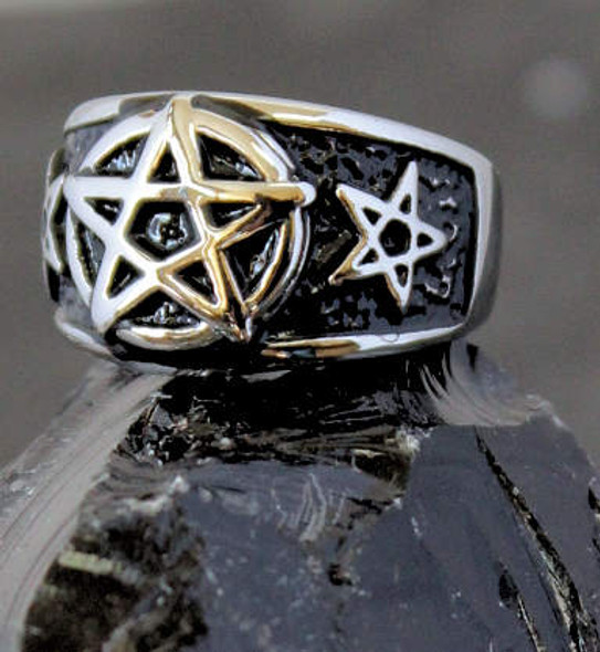 Blackened Stainless Pentagram Ring