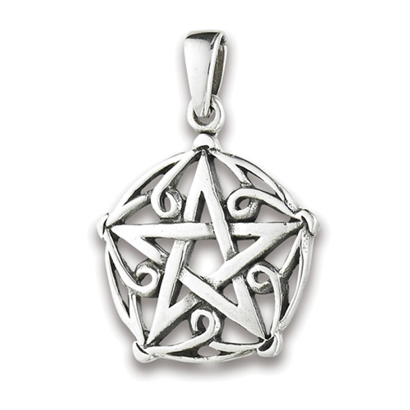 Sterling Silver Scroll Pentagram pendant
