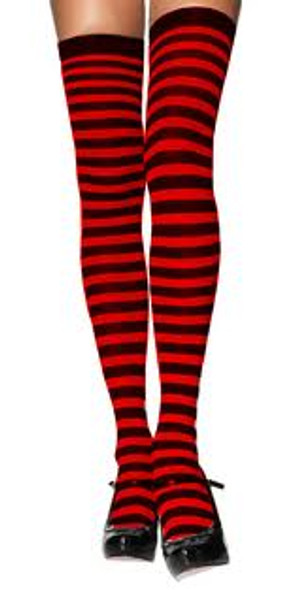 black and red striped thigh hi tights