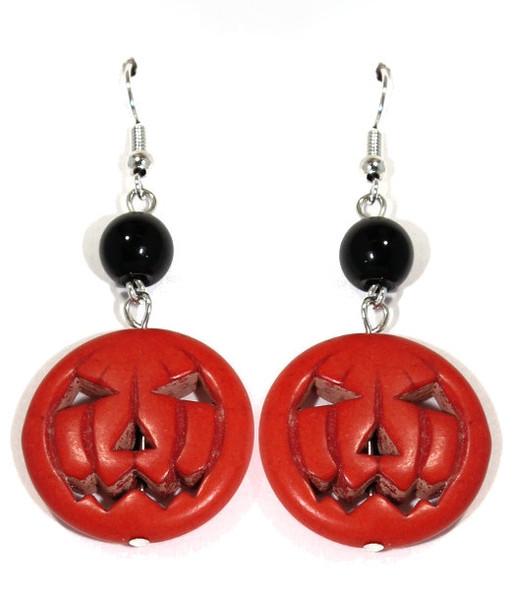Howlite Jack o Lantern Earrings