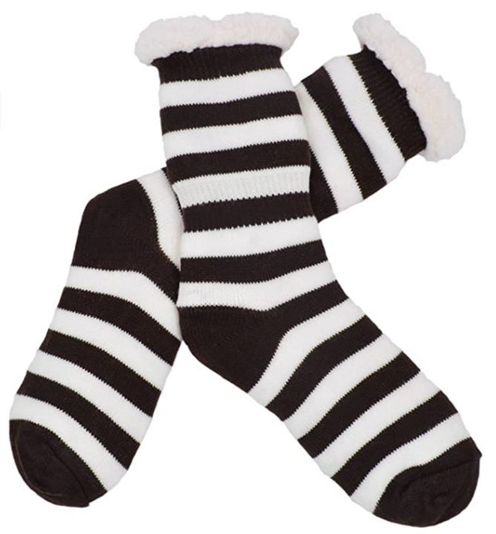 Black and White Striped Slipper Socks