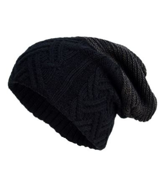 Gray Black Colorblock Slouchy Beanie Hat