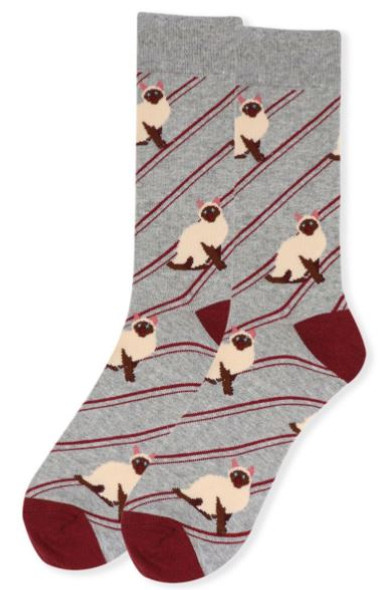 Siamese Cat men's Stripe Socks