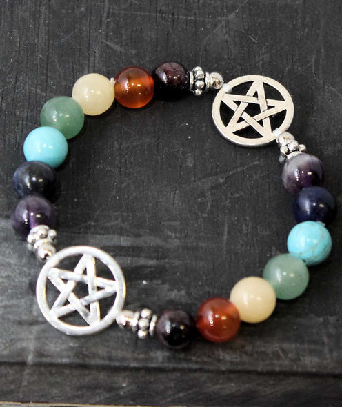 Rainbow Chakra Gemstone and Pentagram Bracelet