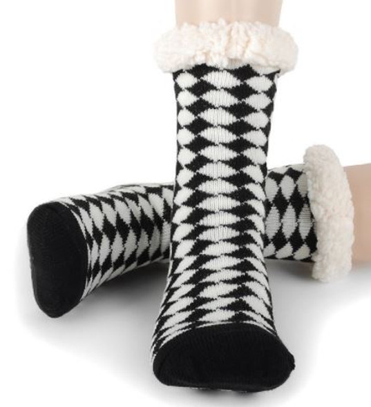 Diamond Dogs Black and White  Slipper Socks