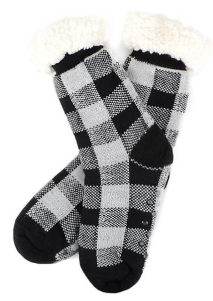 Black and White  Plaid Slipper Socks