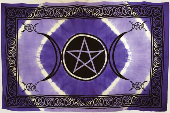 "Purple Triple Moon Pentagram Tapestry 72"" x 108"""