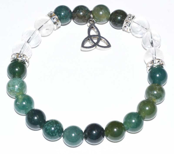 Moss Agate and Quartz Triqueta bracelet
