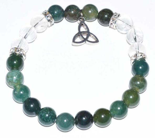Moss Agate and Quartz Triqueta bracelet