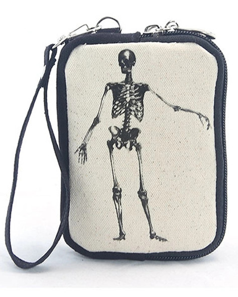 Bag of Bones Skeleton Canvas Wristlet