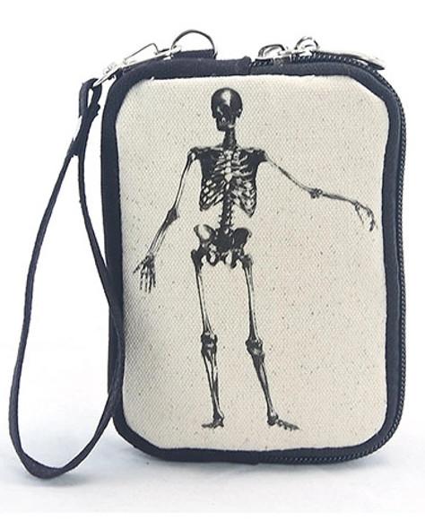 Bag of Bones Skeleton Canvas Wristlet