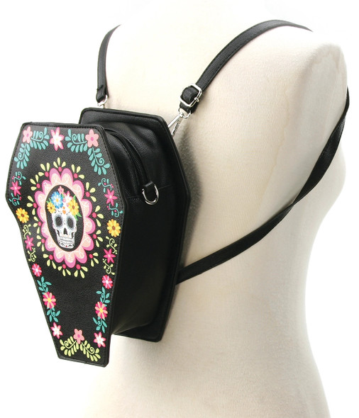 Sugar Skull Coffin Backpack/purse
