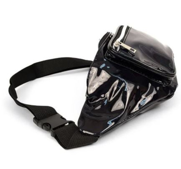 Black Holographic Waist Bag