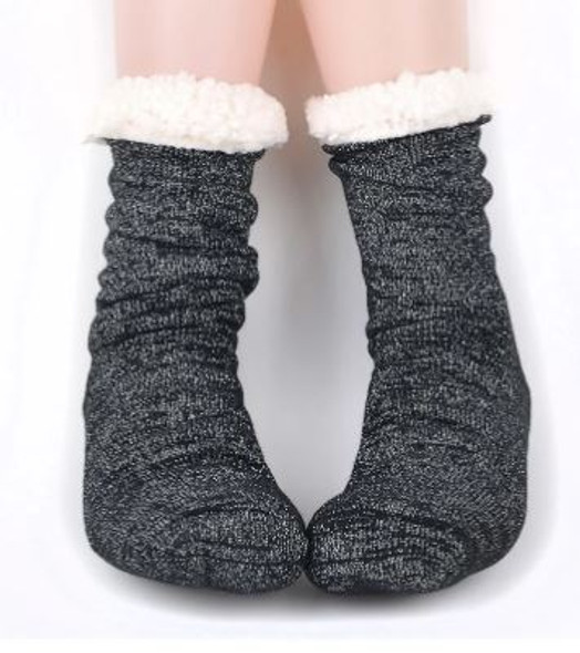 Black and metallic Silver Slipper Socks