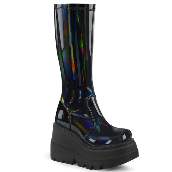 Holo Black Wedge Boots