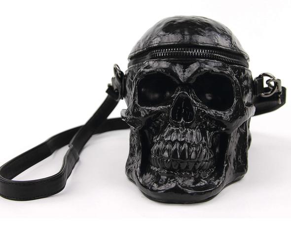 black skull purse front