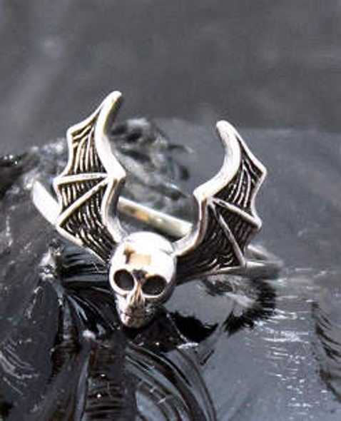 Bat Wing Skull Sterling Ring