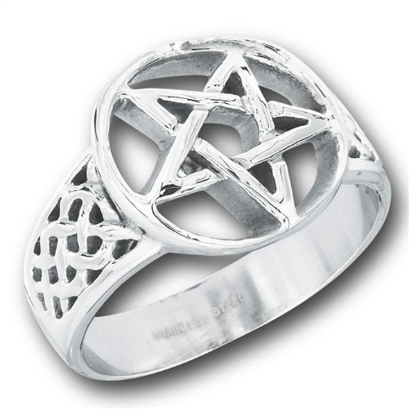 Steel celtic pentagram ring