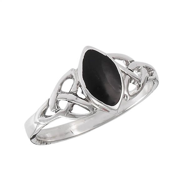 Sterling Onyx Celtic Ring