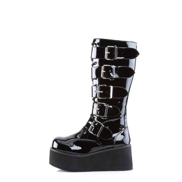 Big Buckle Patent Combat Boots