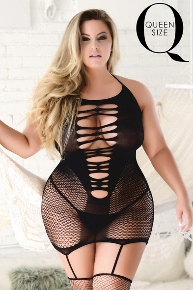 Slasher Plus Size Fishnet Dress