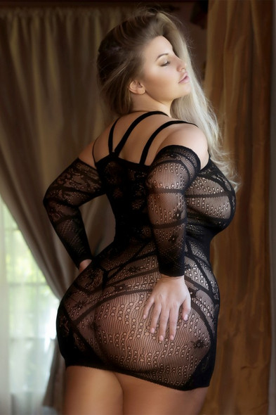 Lesson In Lace Fishnet Striped Dress