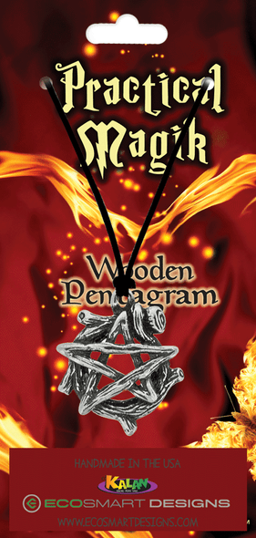 Wooden Pentagram Pewter Amulet