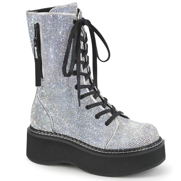Silver Rhinestone combat Boots