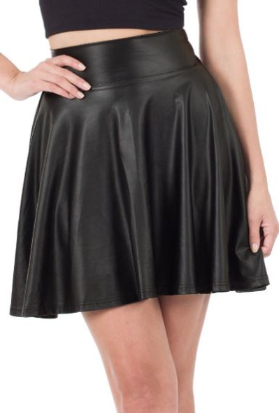 Thin Ice faux leather Skater Skirt