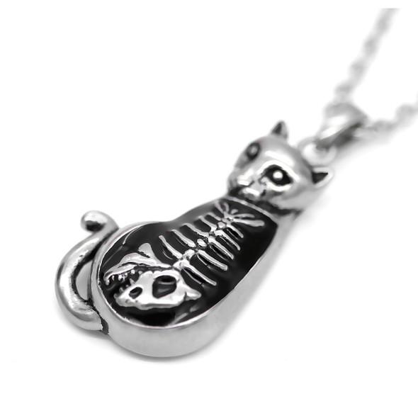 Full Tummy Kitty Fish Bone Necklace
